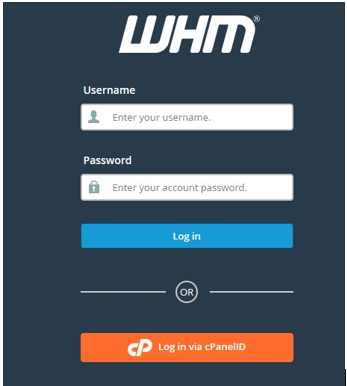 login from whm account